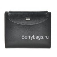 Кожаное небольшое портмоне с кнопкой черное Petek 21266