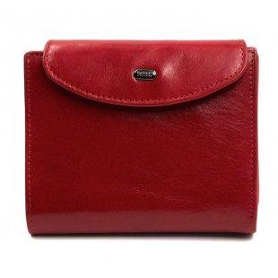Кожаное небольшое портмоне с кнопкой красное Petek 21267