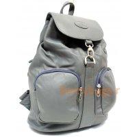 Рюкзак кожаный серый Portore bb39232 grey