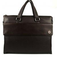 Коричневая кожаная сумка мужская с перфорацией Hight Touch 119011 Britannia Brown