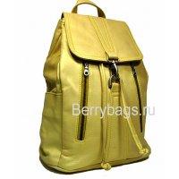 Рюкзак кожаный женский желтый jersi 569330-Loren