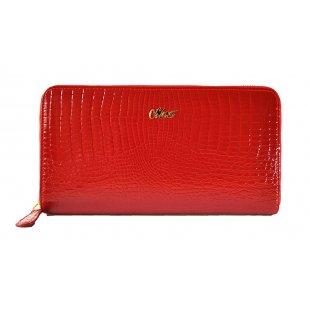 Кожаный кошелек женский красный лакированный Moro&Jenny 365259
